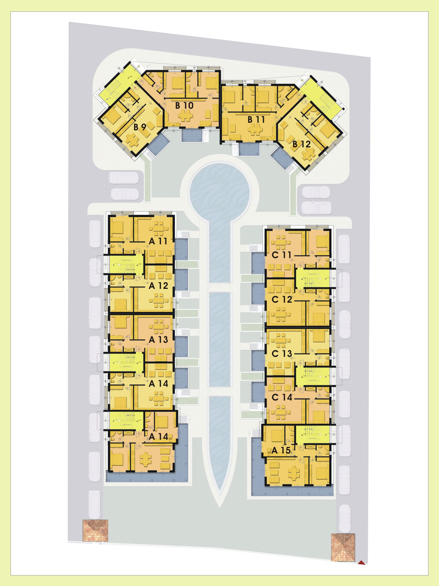 Paradise breeze residential complex for Apartment complex floor plans