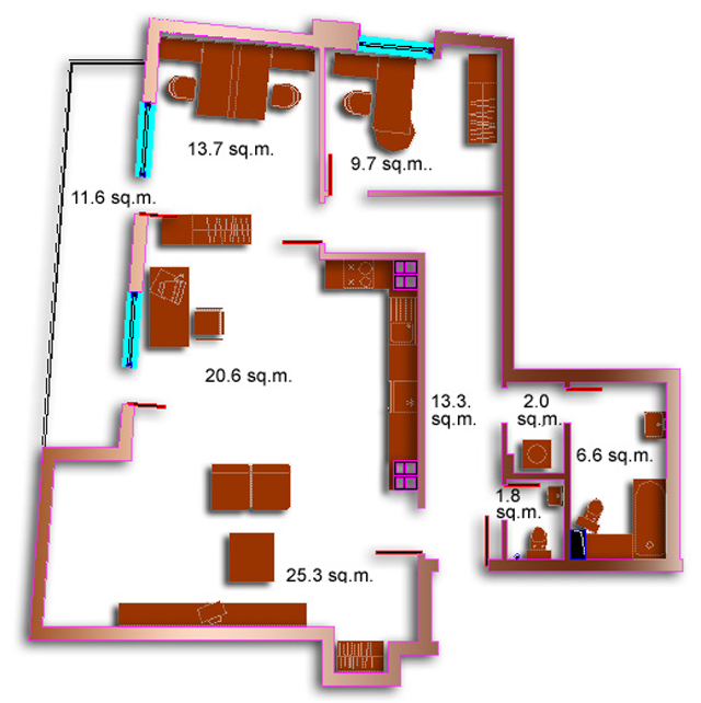 Entrance Hall Living Room With Kitchenette Two Bedrooms Bathroom Guest Toilet Terrace Area 13185 Sqm Price 108 117 Euro