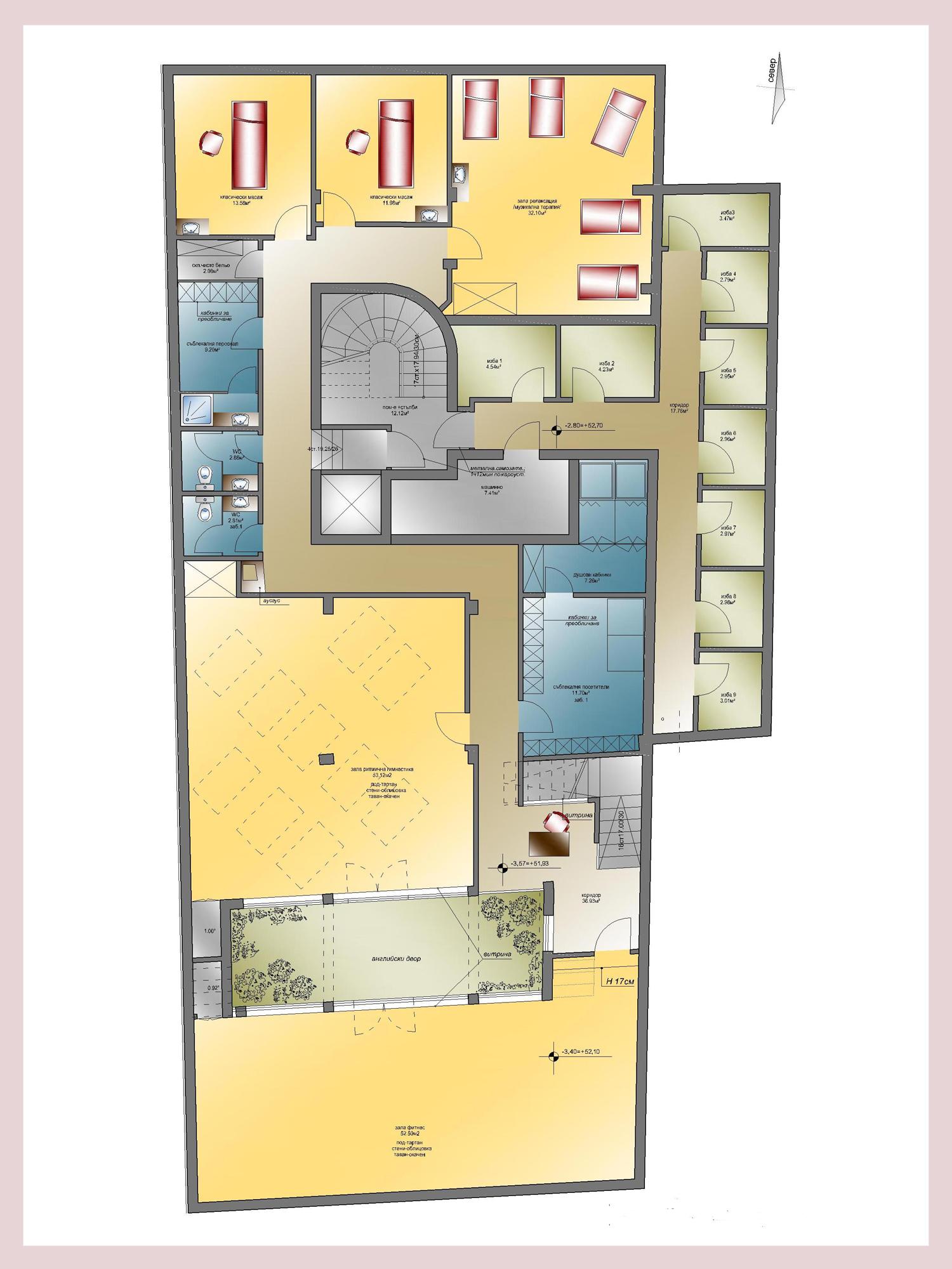 Apartment complex briz in varna for Hair salon floor plans download