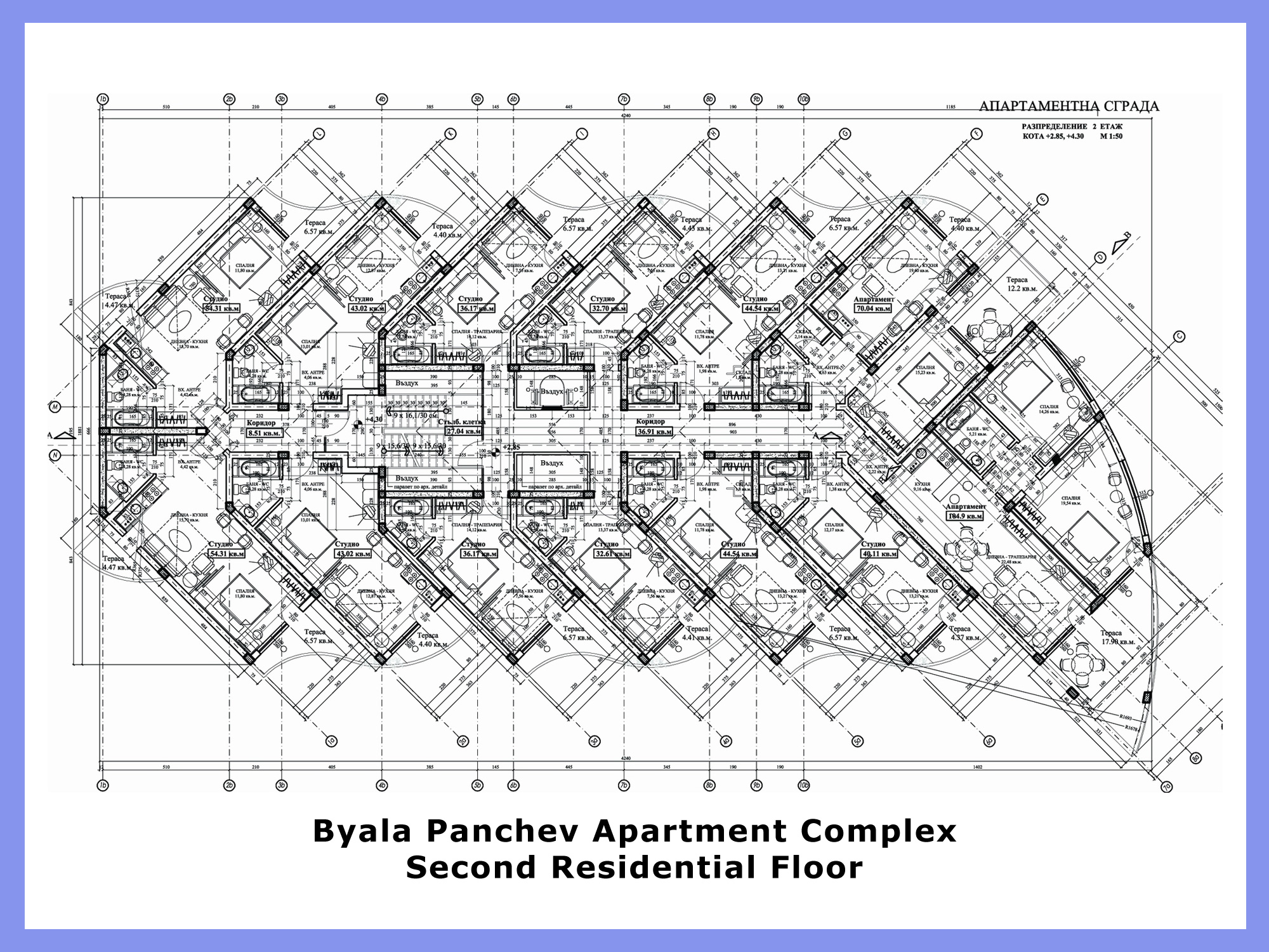 Byala panchev apartment complex Architectural floor plans