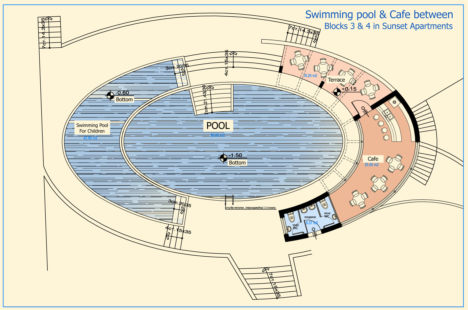 Apartments various types for sale near sunny beach for Swimming pool plan