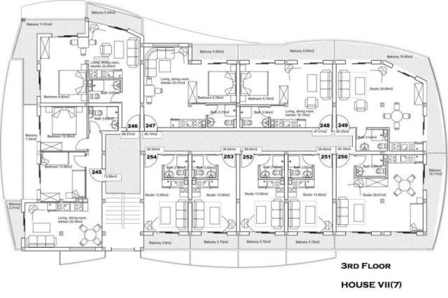 Floor plans of studio apartment in complex sunny day 5 for Apartment complex building plans