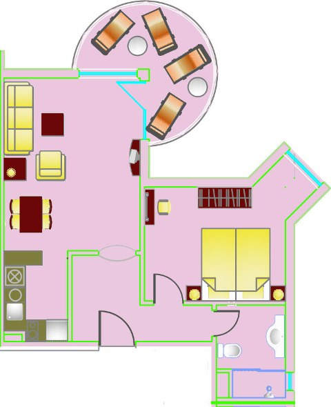 Floor Plans Of One Bedroom Apartment In Sunset Resort Complex In Pomorie