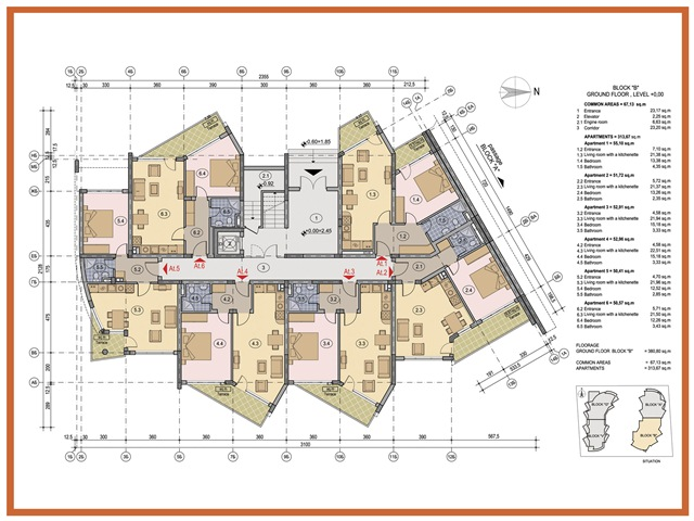 Floor plans of one bedroom apartment in sea grace complex for Apartment complex building plans