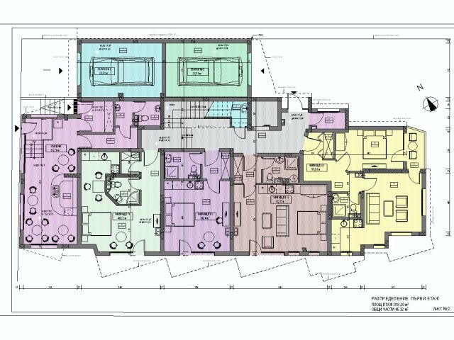 Floor plans of Newlybuilt 4storey residential building in Sarafovo