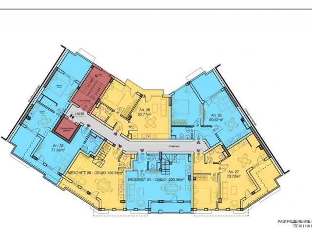 Floor plans of Modern 1-bedroom apartment in new building