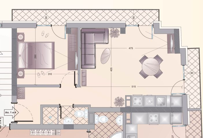 Floor plans of 1 bedroom apartment in luxury new building in the center of sofia
