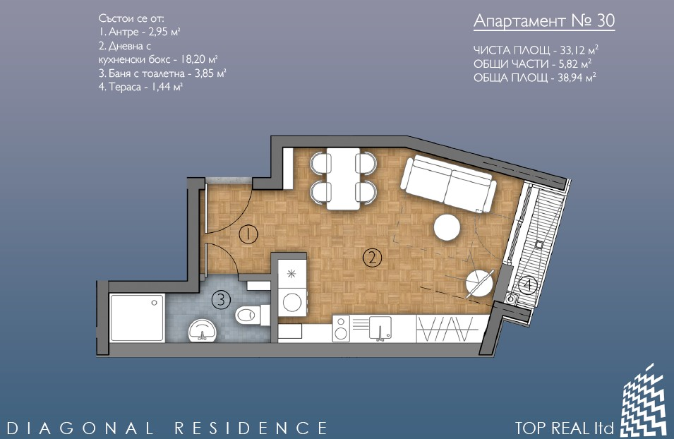 Floor plans of Studio in Sofia