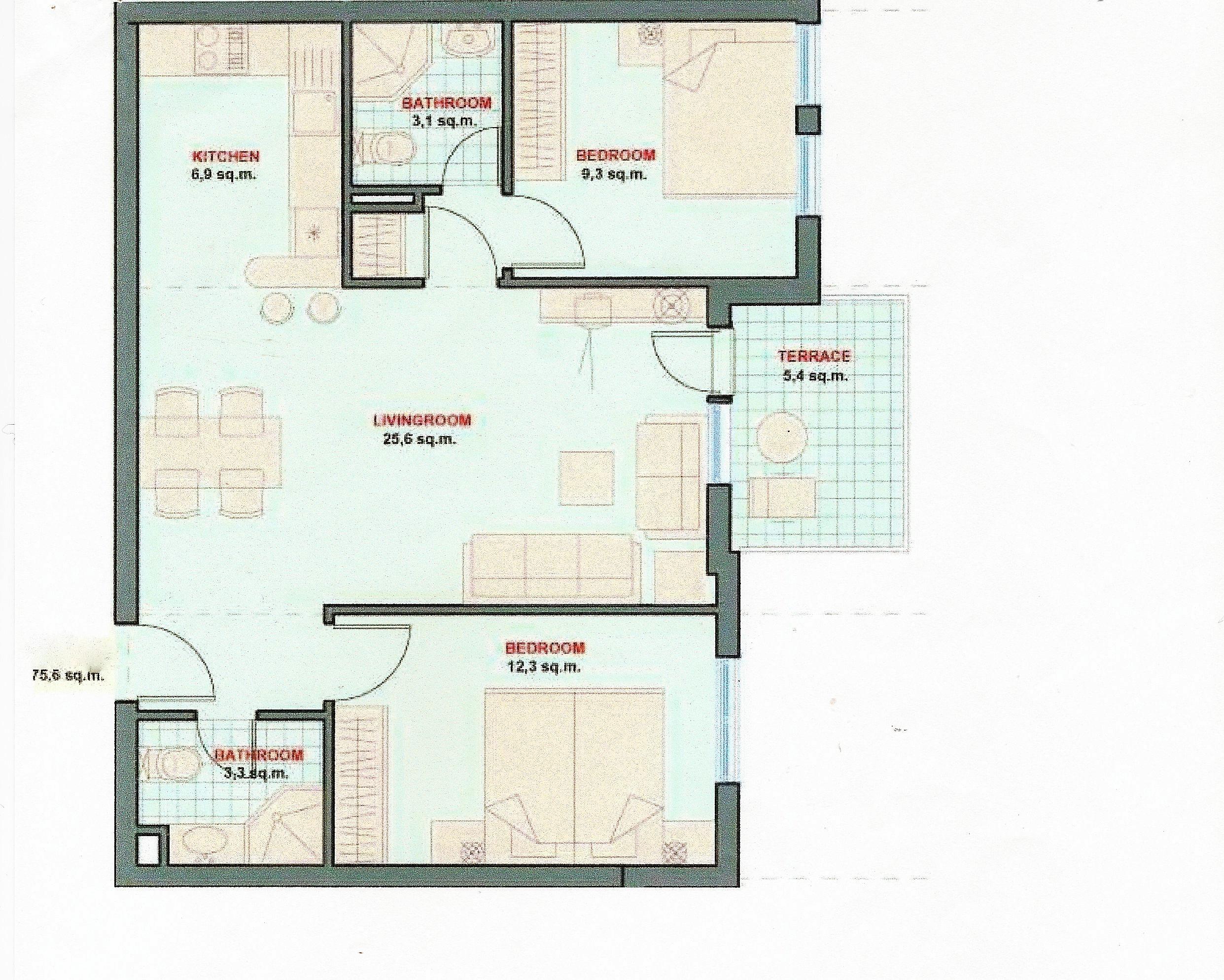 Floor Plans Of Spacious 2 Bedroom Apartment In Garden Of