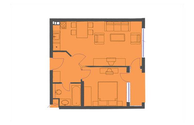 Floor plans of 1 bedroom apartment in semiramida gardens for Apartment complex floor plans